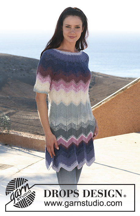 "Heartland Sunset / DROPS 105-10 - DROPS dress in zigzag pattern with short raglan sleeve in ""Alpaca"" and ""Cotton Viscose"". Size XS - XXXL."