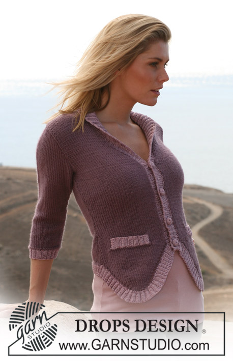 "DROPS 105-13 - DROPS jacket with ¾ sleeves in ""Silke-Alpaca"" and Rib borders in ""Cotton Viscose"". Size S – XXXL"