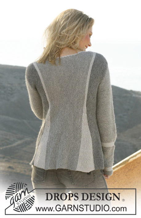 Greyscale / DROPS 106-1 - DROPS pleated jacket, knitted from side 