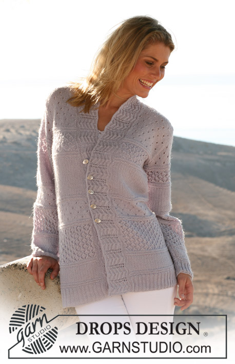 "DROPS 106-10 - DROPS jacket in ""Alpaca"" with stripes in textured patterns. Size S – XXXL"