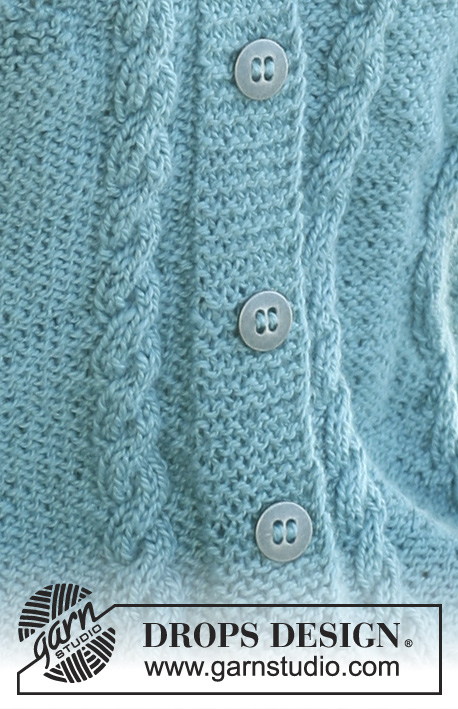 Blue Azure / DROPS 106-28 - DROPS A-shaped jacket with cables and berry pattern in Silke Alpaca. Size S – XXXL.