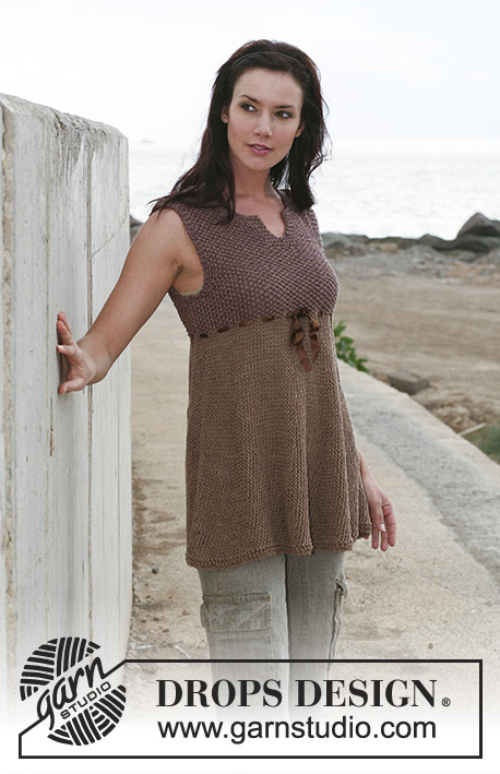 "Brown Sugar / DROPS 107-5 - DROPS tunic in moss stitch in ""Bomull-Lin"" and ""Cotton Viscose"" Sizes: S - XXXL"