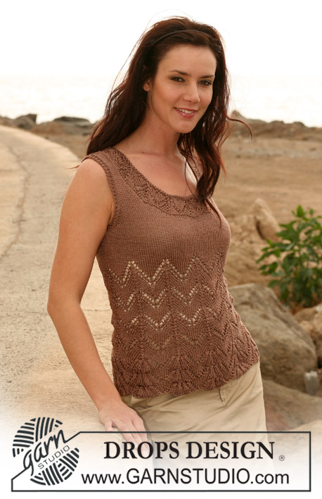 "DROPS 107-8 - DROPS top with lace pattern in ""Cotton Viscose"". Sizes: S - XXXL"