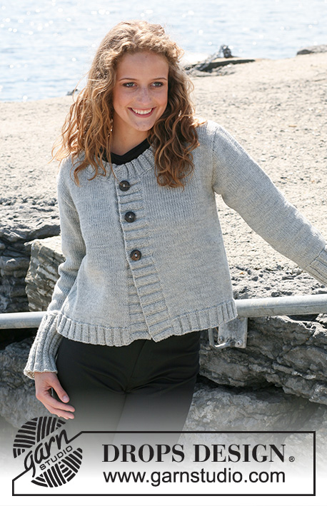 "Chantelle / DROPS 108-22 - Knitted DROPS jacket in ""Karisma"" with rib borders or DROPS Loves You III. Size S - XXXL."