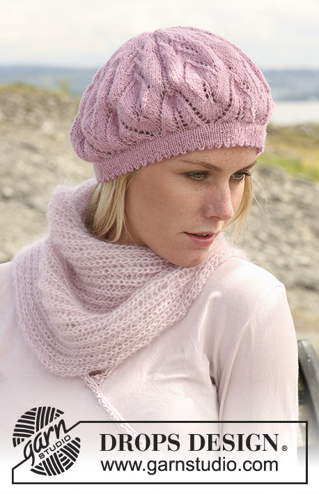 "La Fleur / DROPS 108-3 - DROPS beret with lace pattern in ""Alpaca""."