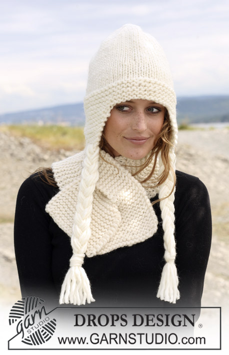 "Lutetia / DROPS 109-16 - Set comprising: DROPS hat in stocking st and scarf in garter st in ""Eskimo""."