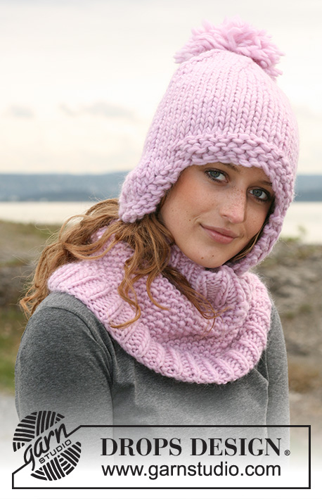 "Belle Marie / DROPS 109-4 - Set comprising: Neck warmer in moss st with rib in 1 thread ""Snow"" or 1 thread ""Polaris"" and DROPS hat in 2 threads ""Snow"" or 1 thread ""Polaris""."