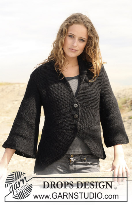 "DROPS 109-47 - DROPS jacket in garter st with curved front pieces in 2 threads ""Alpaca. Size S - XXXL."