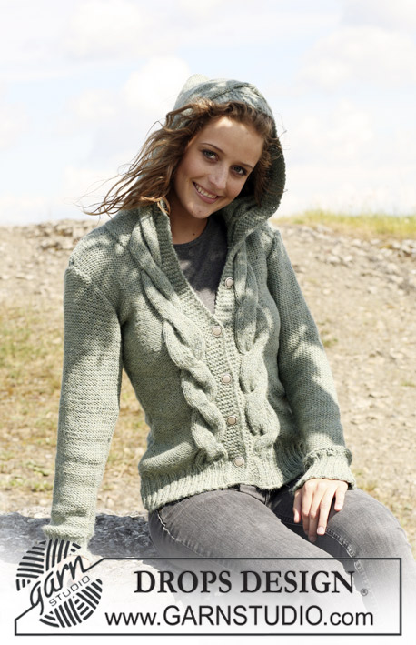 "DROPS 109-54 - Knitted DROPS jacket with cables and hood in 2 threads ""Alpaca"". Size S - XXXL."