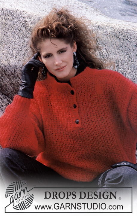 "DROPS 11-18 - DROPS classic jumper with front opening in ""Kid Mohair""."