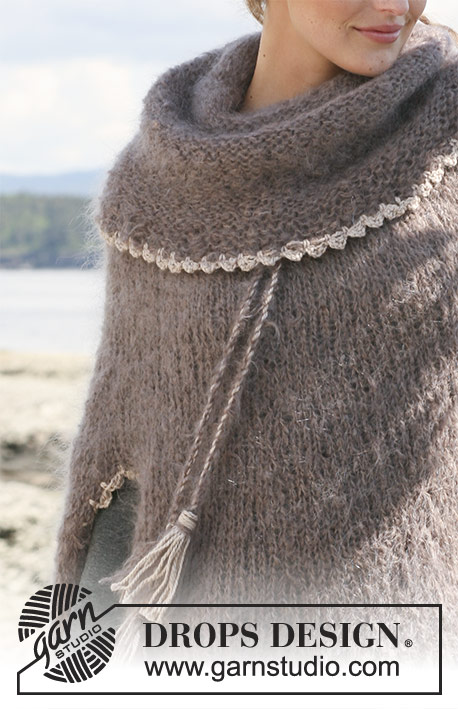 Friar's Robe / DROPS 110-11 - Knitted DROPS poncho with large collar/hood in Vienna or Melody and crochet borders in Silke Alpaca or Nepal.  Size S - XXXL.