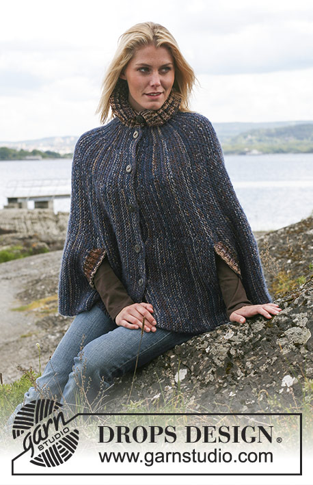 Lady Jessica / DROPS 110-19 - DROPS cape in Vivaldi or Brushed Alpaca Silk and Fabel. Size S - XXXL.