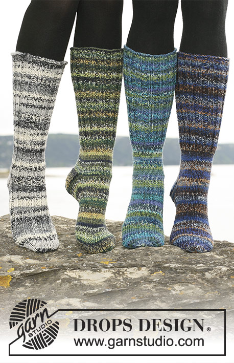 "Pippi Jumps Too / DROPS 110-30 - Long DROPS socks in 2 threads ""Fabel"" or 1 thread ""Big Fabel"" with foot in rib or stocking st."