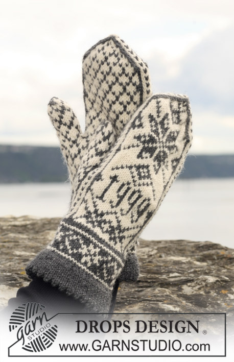 "DROPS 110-38 - Knitted DROPS mittens with pattern in ""Karisma"". Yarn alternative ""Merino Extrafine""."