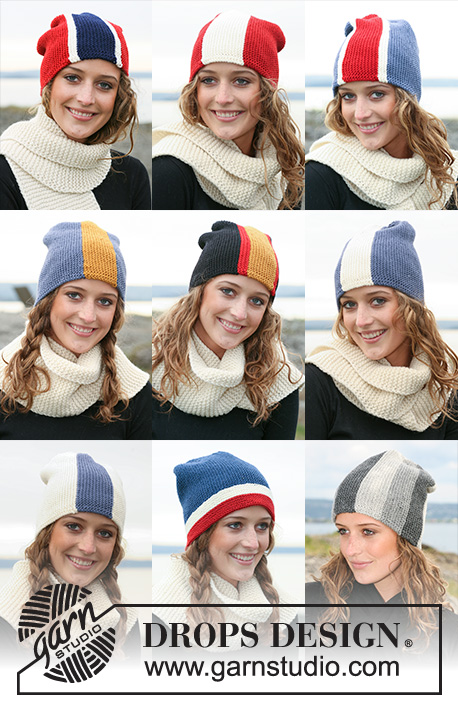 "Wear Your Colours / DROPS 110-45 - DROPS hats with flags in ""Karisma"", worked from side to side. Yarn alternative ""Merino"". Scarf in ""Alaska""."