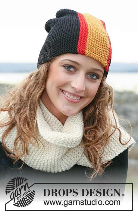 "Wear Your Colours / DROPS 110-48 - DROPS hats with flags in ""Karisma"", worked from side to side. Yarn alternative ""Merino"". Scarf in ""Alaska""."