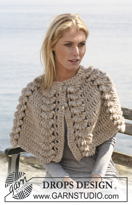 Garnstudio Free Crochet Patterns : DROPS 110-9 - Crochet DROPS cape with shell pattern in ...