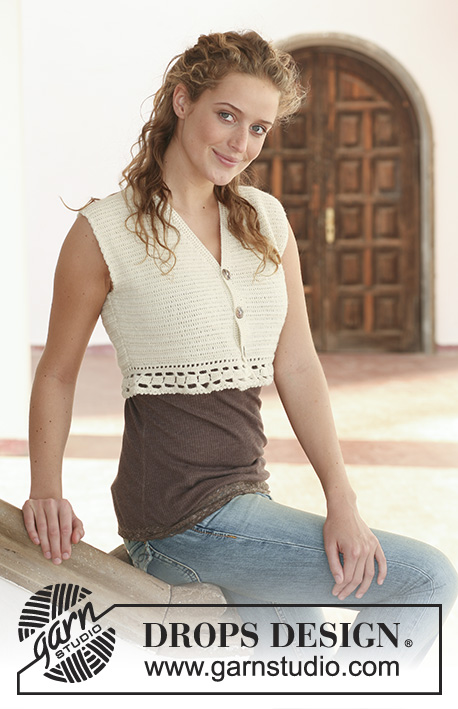 Vestivity / DROPS 111-24 - Crochet DROPS short sleeveless top in Alpaca. Size S - XXXL.