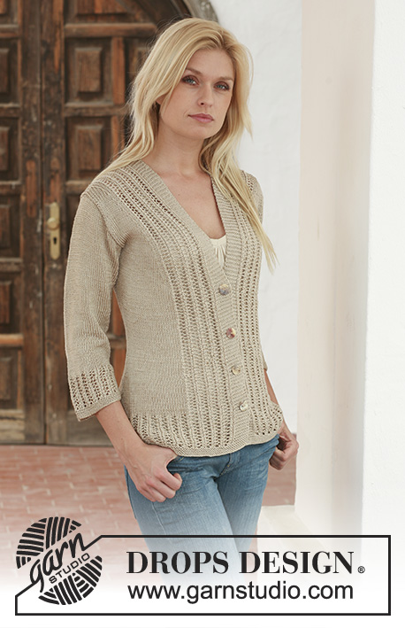 Sand Ripples / DROPS 111-27 - Knitted DROPS jacket with lace pattern in Cotton Viscose. Size S - XXXL.