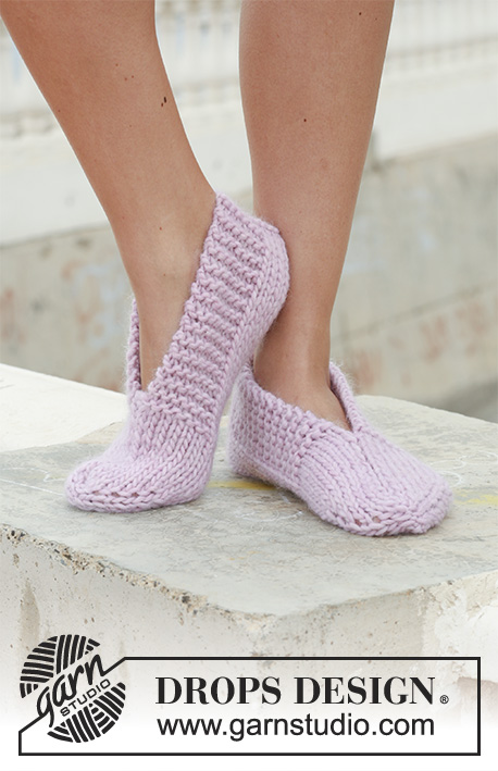 "Rapunzel / DROPS 111-29 - DROPS knitted slippers in ""Eskimo""."