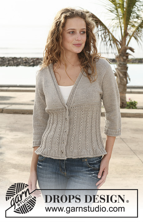 "Encanto / DROPS 111-34 - Knitted DROPS jacket with cable pattern in ""Merino Extra Fine"". Size S - XXXL."