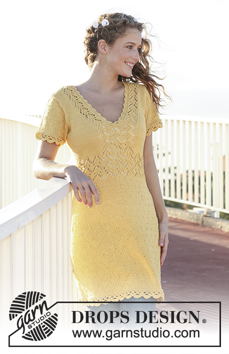 "Endless Summer / DROPS 111-4 - DROPS dress in ""Muskat"" with lace pattern, short sleeves and crochet borders. Size XS - XXL."