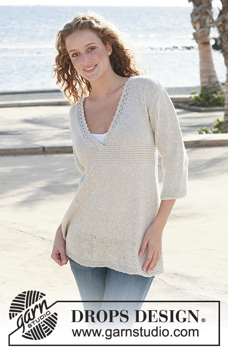 Morning Light / DROPS 112-1 - Knitted DROPS Tunic with lace border on neckline in Bomull-Lin. Size S - XXXL.