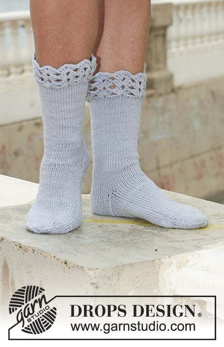 Steel and Lace / DROPS 112-16 - DROPS socks in Merino Extra Fine with crochet border.