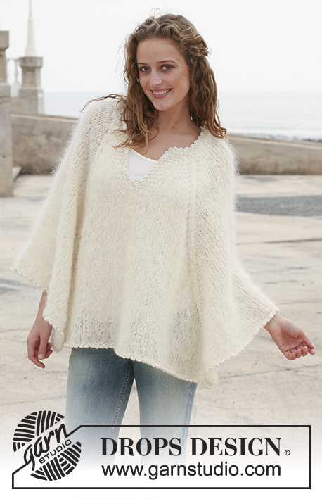 "Biancaneve / DROPS 112-22 - Knitted DROPS poncho in ""Vienna"" or Melody. Size S -XXXL."