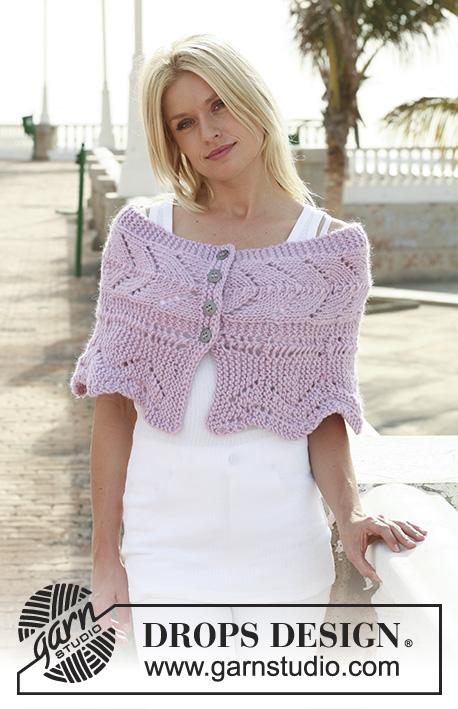 Faustine in Pink / DROPS 112-32 - Chauffe-épaules DROPS en tricot ajouré en «Eskimo».