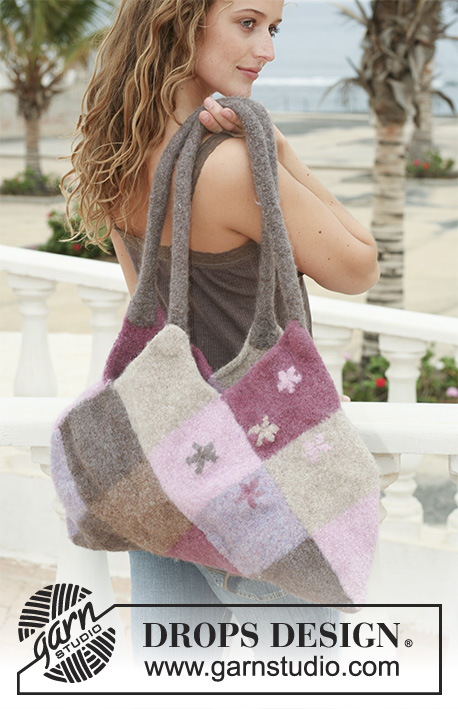 "Jeweled Tote / DROPS 112-45 - Felted DROPS bag with Domino squares in ""Eskimo""."