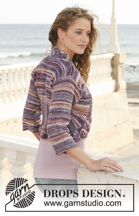 Memory Lane / DROPS 113-14 - DROPS bolero in garter st with turns in   Fabel and border in crochet squares. Size S - XXXL.
