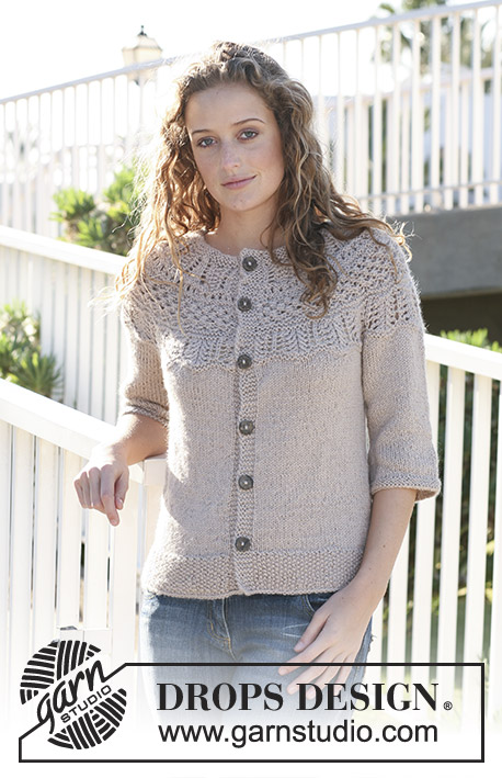 "Avery / DROPS 113-17 - DROPS jacket with round yoke and pattern on yoke in ""Silke Alpaca"". Size S - XXXL."