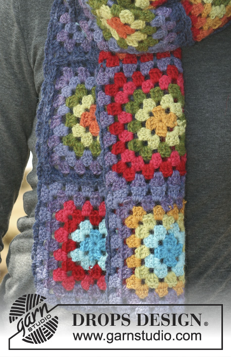 "DROPS 114-21 - Crochet DROPS scarf and hat made up of colorful squares and hexagons in 2 threads ""Alpaca""."