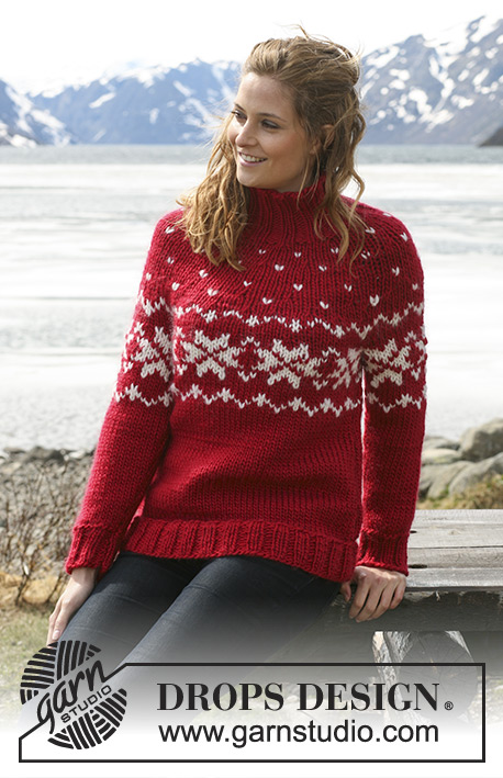 "Holly Berries / DROPS 114-28 - DROPS jumper in ""Eskimo"" with round yoke and Norwegian pattern. Size S - XXXL."