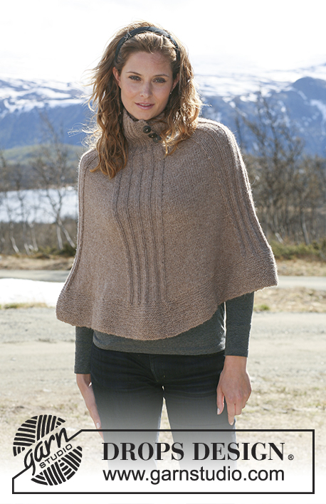 "DROPS 114-32 - Knitted DROPS Poncho with rib in ""Classic Alpaca"" or Puna. Size S - XXXL."