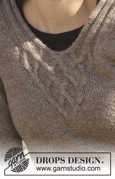 "Viking Knots / DROPS 114-8 - DROPS jumper with cables in ""Alpaca"" with 3/4 sleeves or long sleeves. 