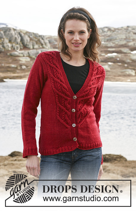 "Red Mountain / DROPS 114-9 - Knitted DROPS jacket with cables in ""Karisma"". Size S – XXXL."
