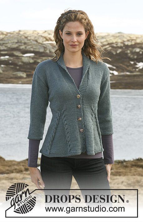 Keira / DROPS 115-1 - Knitted DROPS Jacket with cables in Karisma with 3/4 or long sleeves. Size S – XXXL.
