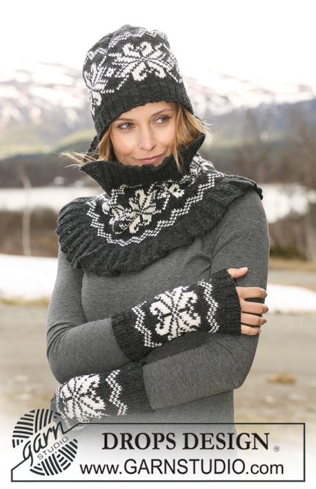 "DROPS 116-10 - Set comprises: DROPS hat, neck warmer and wrist warmers with Norwegian pattern in ""Karisma""."
