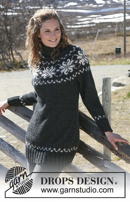 "Midnight Rose / DROPS 116-12 - Knitted DROPS jumper with round yoke sleeves in 2 threads ""Alpaca"". Size S – XXXL."