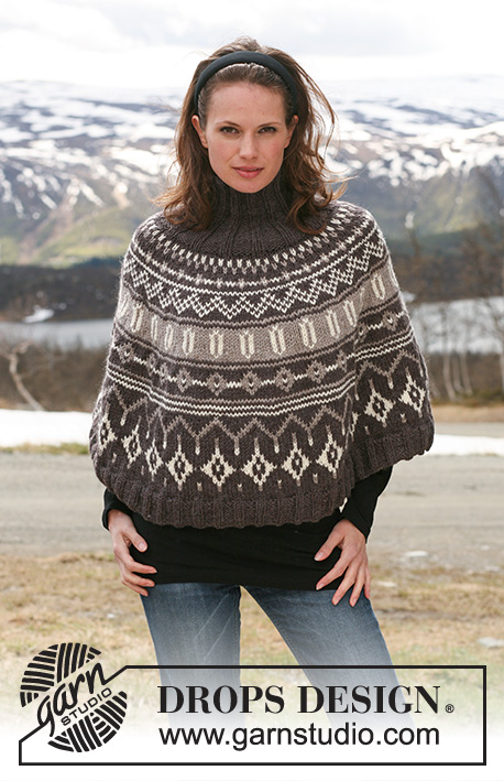 "In the Alps / DROPS 116-20 - DROPS poncho in ""Alaska"" with Norwegian pattern. Size S to XXXL."