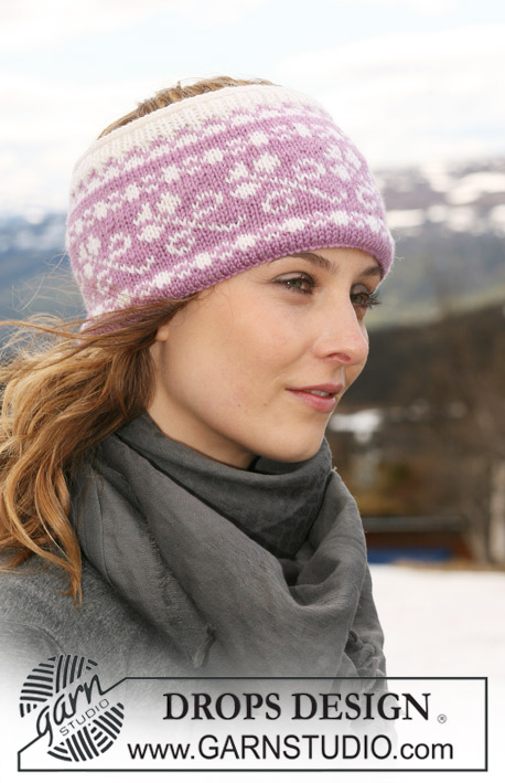 "DROPS 116-52 - DROPS ear warmer with pattern in ""Karisma""."