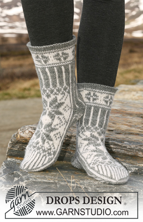 "DROPS 116-55 - Knitted DROPS Socks with pattern in ""Karisma""."