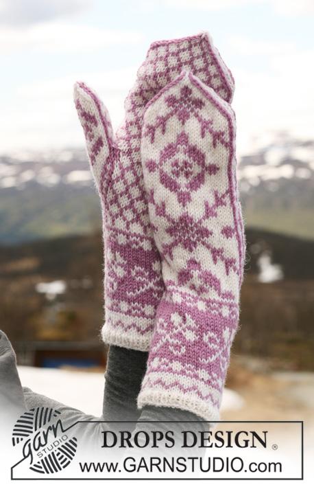 0fc32cf5ffd DROPS 116-6 - Rukavice palčáky s norským vzorem pletené z příze DROPS  Karisma.