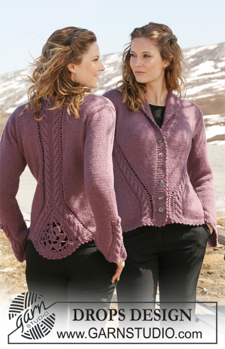 "Sweet Erica / DROPS 117-1 - DROPS Jacket in 2 threads ""Alpaca"" with cable and lace pattern and crochet triangle on back  piece. Size S to XXXL"