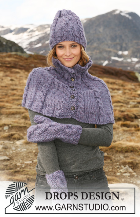 "Laluna / DROPS 117-15 - Set comprises: Knitted DROPS neck warmer, hat and mittens with cables in ""Eskimo""."