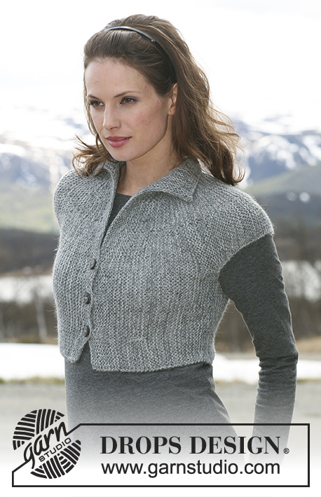 Helena / DROPS 117-43 - Short DROPS jacket with short sleeves knitted from side to side in 2 threads Alpaca. Size XS - XXL.
