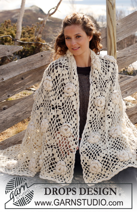 "Frost Rose / DROPS 117-52 - Crochet DROPS blanket in ""Classic Alpaca"" or Puna