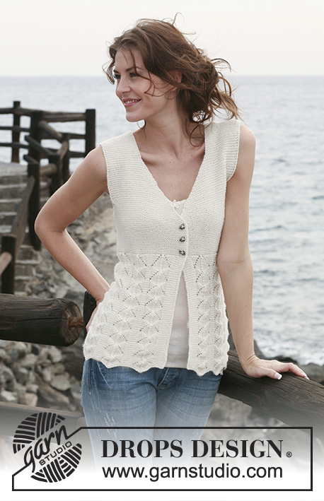 "Frilly Julliet / DROPS 118-18 - Knitted DROPS sleeveless top in garter st and lace pattern in  ""Alpaca"". Size S-XXXL."